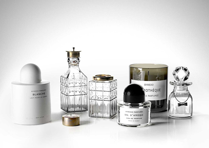 Crystal Bottles with Byredo Candles and Perfumes